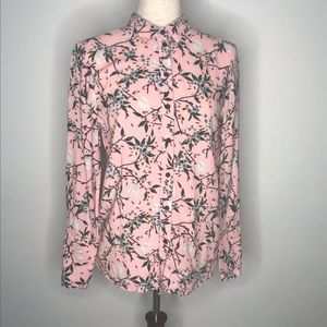 Topshop pink floral button up top